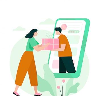 Kobieta odbiera pudełko od smartfona. ilustracja koncepcja zakupy online.
