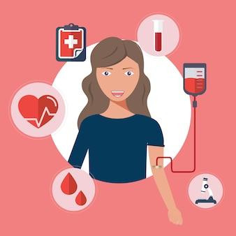 Kobieta oddaje krew. krwiodawstwo