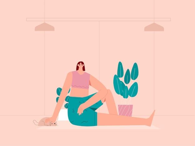 Kobieta odpoczywa po jodze stanowi ilustrację