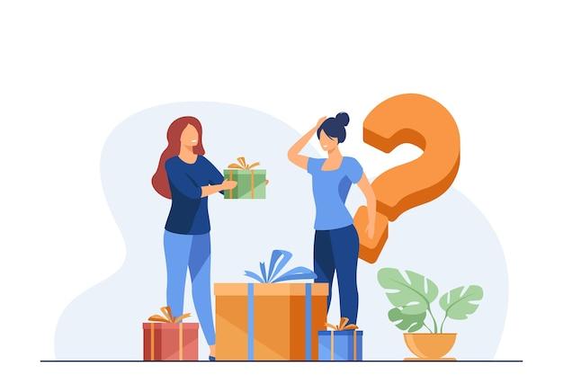 Kobieta oferuje prezenty kobiecie w sklepie.