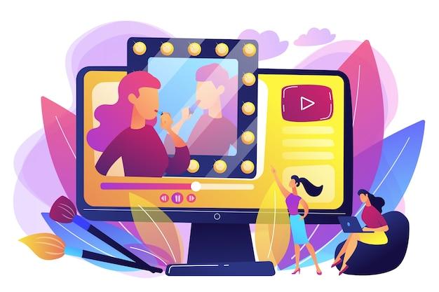 Kobieta ogląda blogerkę kosmetyczną pokazującą najnowszy samouczek dotyczący makijażu. blogerka kosmetyczna, produkcja bloga kosmetycznego, koncepcja konsultanta kosmetycznego online.