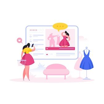 Kobieta ogląda moda vlog podczas zakupów. ilustracja kreskówka ludzie płaski