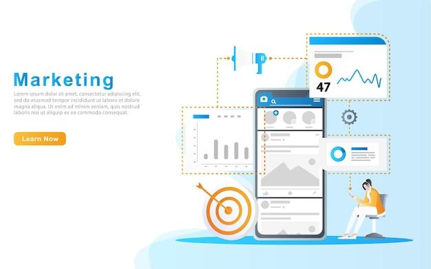 Kobieta oglądająca sprzedaż reklamowaną w mediach społecznościowych, w tym dane i rynek docelowy