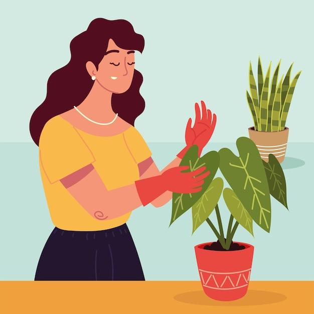 Kobieta ogrodniczka i rośliny