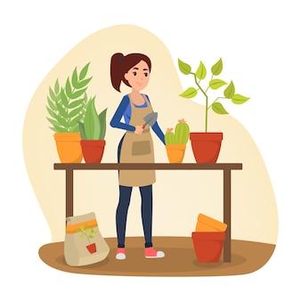 Kobieta ogrodnik pracuje z rośliną. idea rolnictwa i ogrodnictwa. kwiat w doniczce. ilustracja