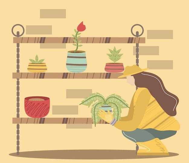 Kobieta ogrodnik z półkami roślin ogrodnictwo narzędzia ilustracja kwiaty