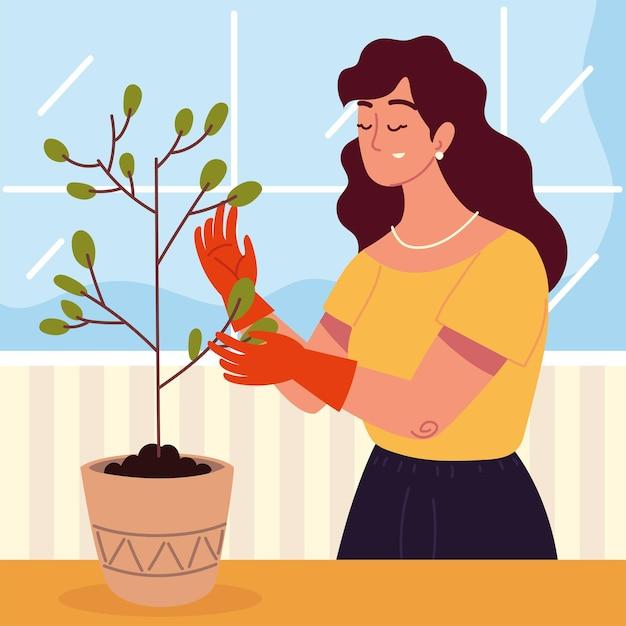 Kobieta opiekująca się rośliną