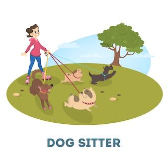 Kobieta opiekunka do psa spacery z uroczymi zwierzętami. dziewczyna na rolkach spaceruje z grupą psów. ilustracja.