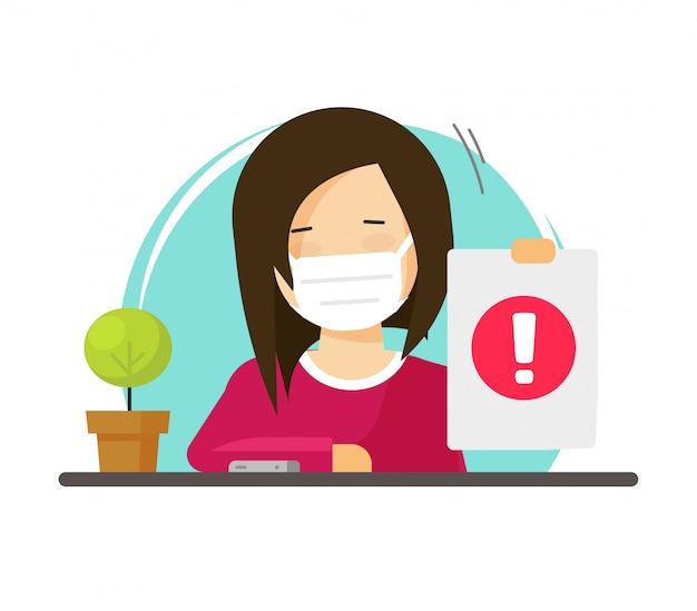 Kobieta osoba radzi nosić medyczne maski twarz płaskie ilustracja kreskówka, postać żeńska chroniona z chirurgii medycyny maska ostrożnie znak ostrzegawczy na białym tle nowoczesny design piktogram obraz