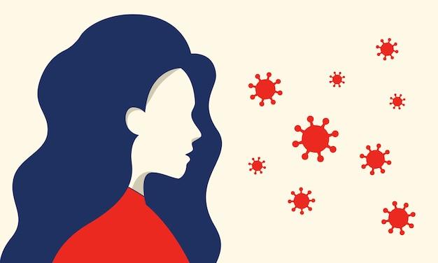 Kobieta ostrzeżenie, obawiająca się rozprzestrzeniania się wirusa koronowego.