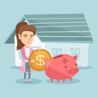 Kobieta oszczędzania pieniędzy w skarbonka na zakup domu.