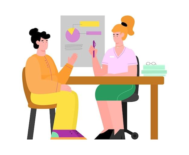 Kobieta otrzymująca konsultację ze specjalistą płaskiej ilustracji