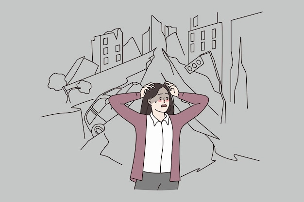 Kobieta panikuje z powodu trzęsienia ziemi w mieście