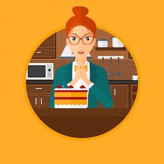 Kobieta patrząc na ciasto z pokusą.