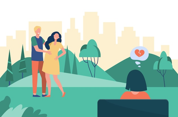 Kobieta patrzeje szczęśliwą rodzinę ze złamanym sercem. ciąża, para, płaska ilustracja macierzyństwa. ilustracja kreskówka