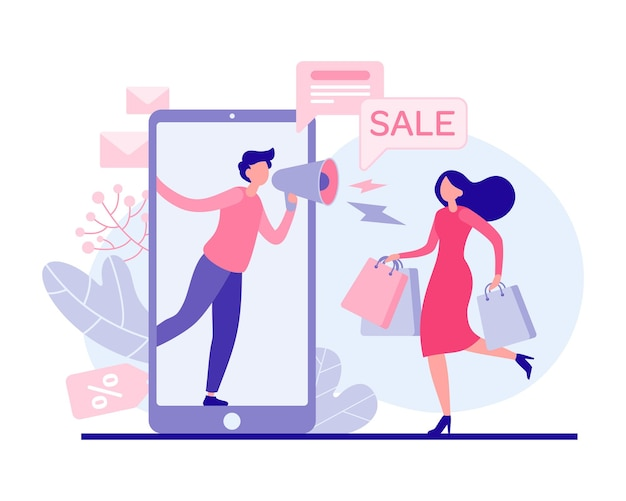Kobieta pędzi do płaskiej ilustracji sprzedaży wakacyjnej. kobieca postać z torbami prowadzi sklep z artykułami promocyjnymi. marketer z megafonem w aplikacji online opowiada o rabatach e-commerce.