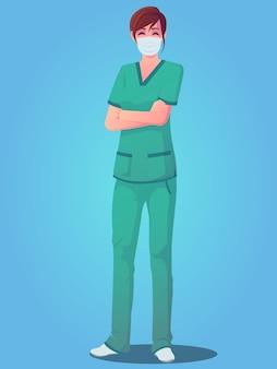 Kobieta personelu medycznego ubrana w fartuch, stojąca z założonymi rękoma i ubrana w maskę
