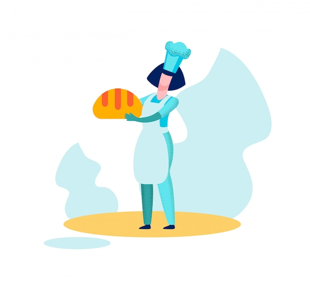 Kobieta piekarz szef gospodarstwa chleb pieczony produkcji