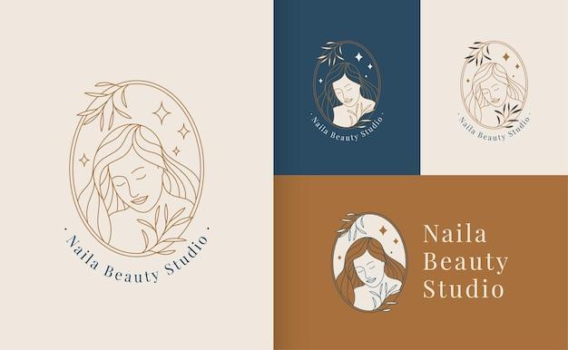 Kobieta piękna twarz logo liniowy styl, studio urody i szablon marki kosmetycznej