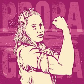 Kobieta pięść / symbol żeńskiej mocy i przemysłu