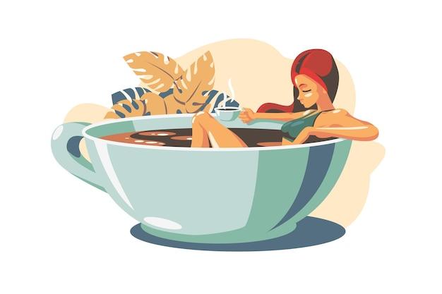 Kobieta pije kawę płaski ilustracja
