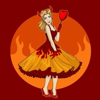 Kobieta pinup w płomieniach