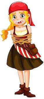 Kobieta pirat dostała linę wokół postaci z kreskówek na białym tle