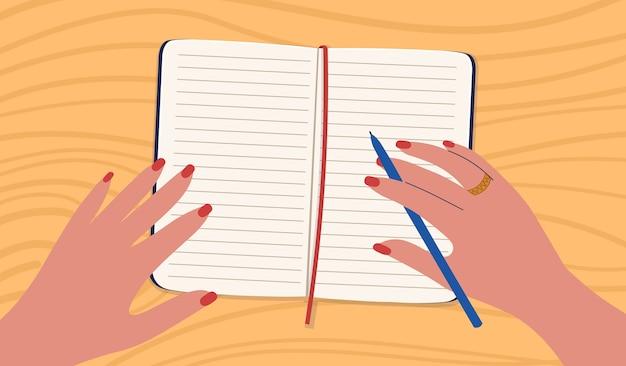 Kobieta pisze ręcznie w zeszycie. ilustracja w stylu kreskówki.