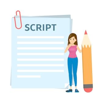 Kobieta pisze scenariusz do filmu lub bloga. dziewczyna stoi
