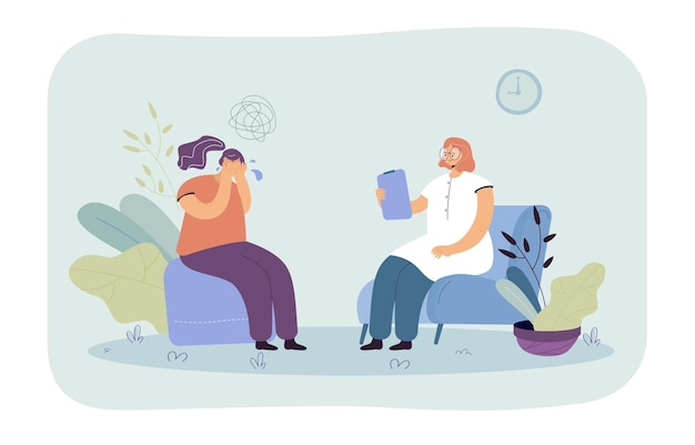 Kobieta płacze podczas sesji terapeutycznej