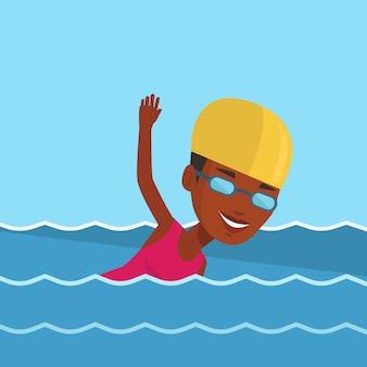 Kobieta pływanie ilustracji wektorowych.
