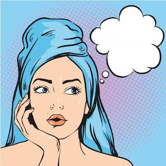 Kobieta po prysznic myśli o czymś. ilustracja w komiksowym stylu pop-art