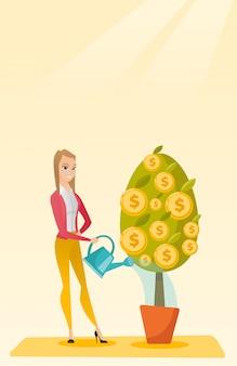 Kobieta podlewania pieniądze drzewo.