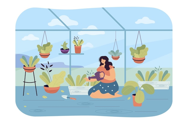 Kobieta podlewania roślin w wewnętrznym ogrodzie. płaska ilustracja