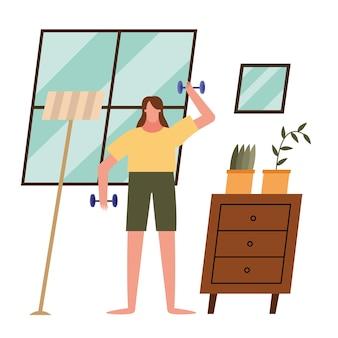 Kobieta podnosząca ciężary w domu projekt motywu aktywności i wypoczynku.