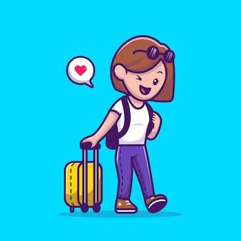 Kobieta podróżnik ciągnąc walizkę kreskówka