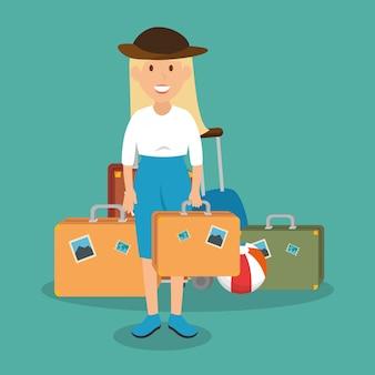 Kobieta podróżnik z walizką