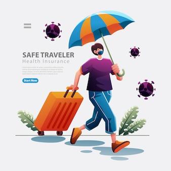 Kobieta podróżująca z ubezpieczeniem zdrowotnym