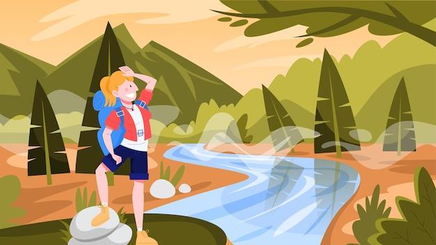 Kobieta podróżuje z plecakiem. turysta na wycieczce. idea podróży i turystyki, wakacje letnie. osoba wędrująca w otoczeniu natury. ilustracja w stylu