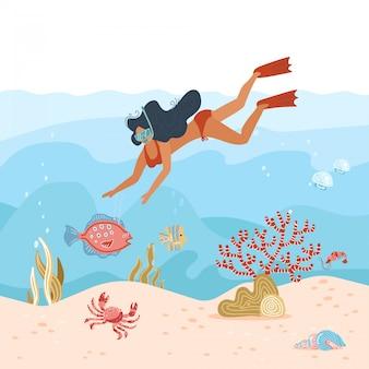 Kobieta podwodny nurek. letnia aktywność. młoda dziewczyna w masce do snurkowania bada życie w głębinach morskich, nurkowanie z tropikalnymi rybami i rafą koralową. podróżuj stylem życia. płaska ilustracja