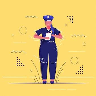Kobieta policjant pisze raport parking grzywny policjantka w jednolitym urzędzie bezpieczeństwa sprawiedliwości niska usługa koncepcja szkic pełnej długości