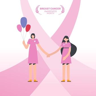 Kobieta pomaga sobie nawzajem w miesiącu świadomości raka piersi