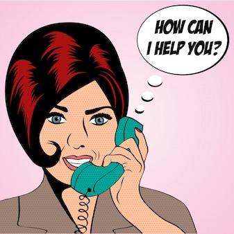 Kobieta pop-art rozmawia przez telefon