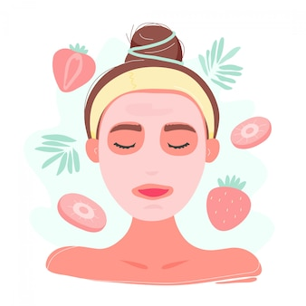 Kobieta portret w truskawkowej twarzy masce