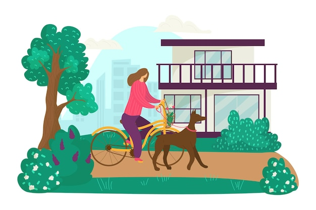 Kobieta postać jeździć na rowerze i chodzić z zwierzę domowe pies kobieta spacer na zewnątrz płaskie wektor chory...