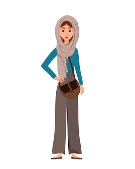 Kobieta postać na wakacjach z szalikiem i torbą na białym tle