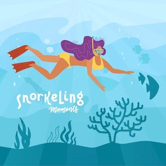 Kobieta postać nurkowanie lub nurkowanie pod wodą na dnie morza z koralami i wodorostami. pływaczka dziewczyna aktywny wypoczynek, wakacje i wypoczynek. ilustracja kreskówka płaski.