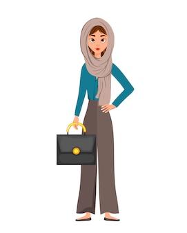 Kobieta postać w szaliku z teczką na białym tle. ilustracja.