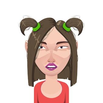 Kobieta postać z kreskówki avatar, portret płaski