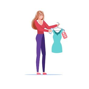Kobieta postać z kreskówki płaski trzyma sukienkę z ilustracją zniżki na zakupy